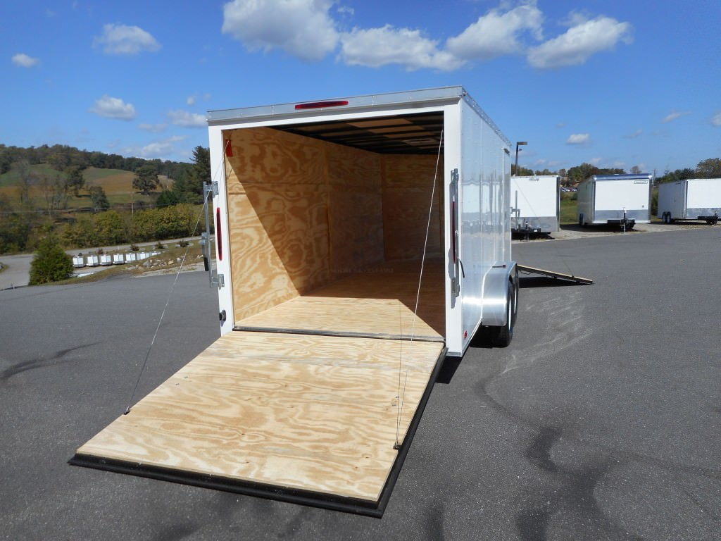 7x16 Enclosed V Nose Drive In Drive Out Motorcycle Trailer