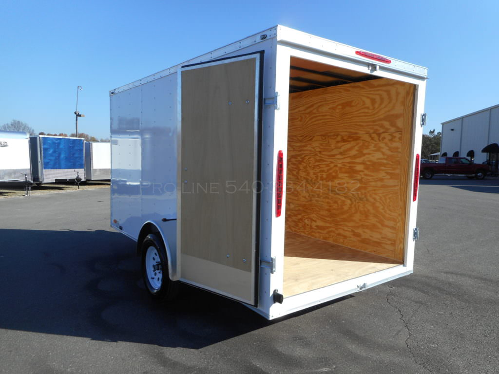 6x12 Enclosed Small V Nose Double Door Trailer Small