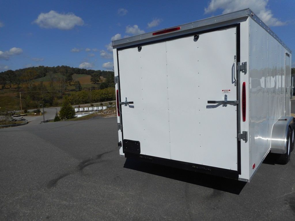 7x22 Enclosed V Nose Drive In Drive Out Trailer