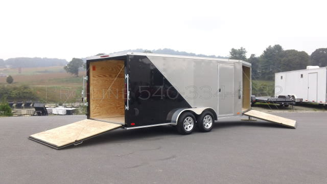 7x22 Enclosed V Nose Drive In Drive Out Cargo Trailer
