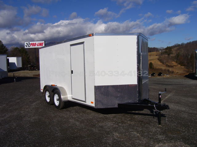 7x14 Enclosed V Nose Trailer White Walls